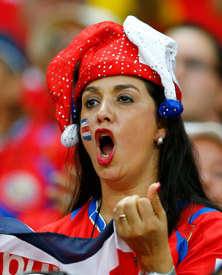 Costa Rica fans cheer as they watch the 2014 World Cup Group D soccer match between Costa Rica and Uruguay at the Castelao arena in Fortaleza